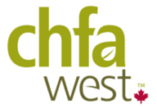 chfa west logo against a checkered background with a small red maple leaf
