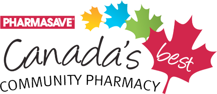 pharmasave logo with different color maple leaves