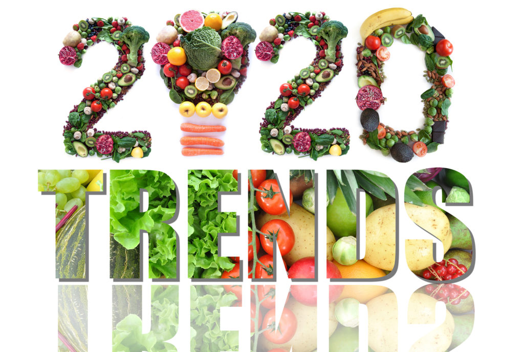 2020 Trends spelled out with fruits and vegetables