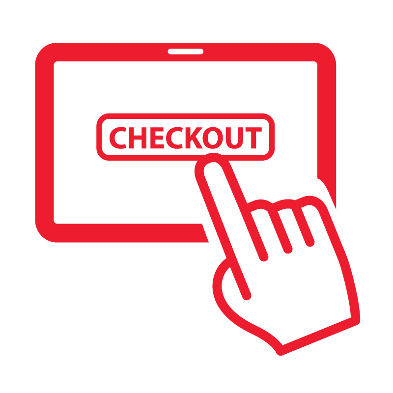 red logo of a hand pressing a checkout button against a checkered background