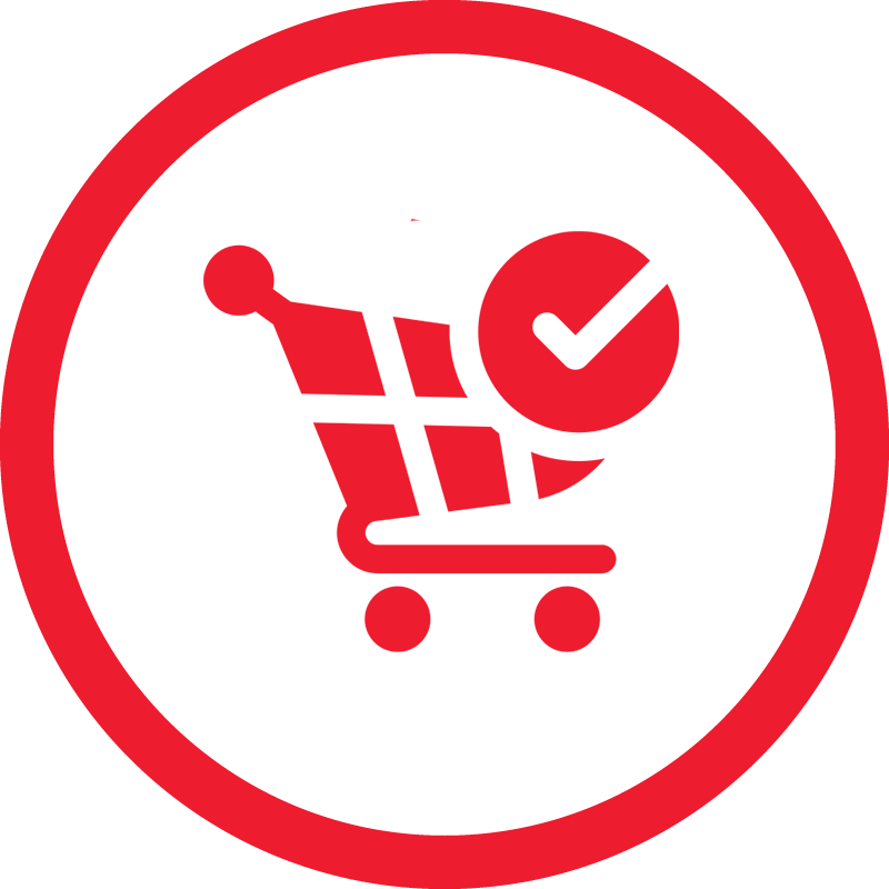 red logo of a shopping cart with a checkmark with a checkered background